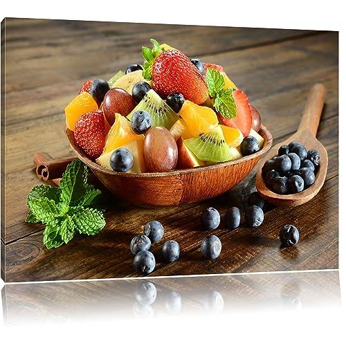 Frutta mela uva ciliegia cesto di frutta su tela, Immagini XXL completamente incorniciati con telai di grandi dimensioni cuneo. Stampa artistica su quadro a parete con cornice. Più economico di pittura o di un dipinto a olio, non un manife, Leinwand Format:80x60 cm