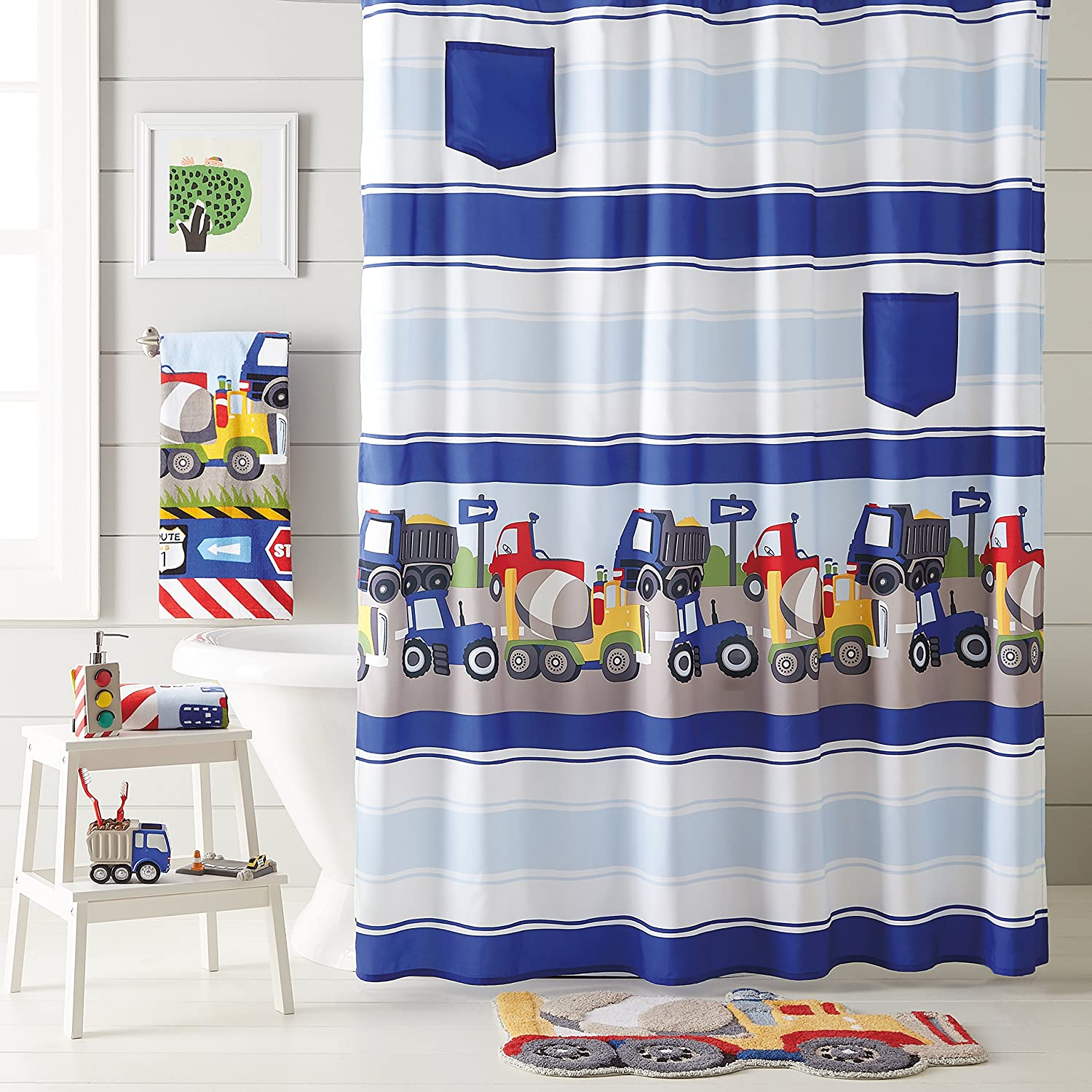 dream FACTORY Trains and Trucks Fabric Shower Curtain, 70 x 72 inches, Yellow