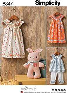 product image for Simplicity US8347A Toddler's Dress, Knit Capris, and Stuffed Animal Sewing Patterns, Sizes 1/2-4