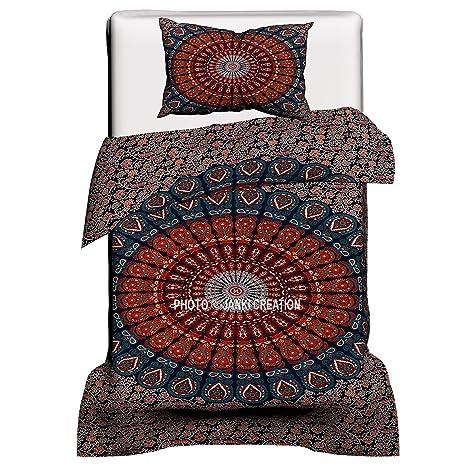 Peacock Mandala Bedsheet Throw Ethnic Bedspread Indian Cotton Queen Size Decor