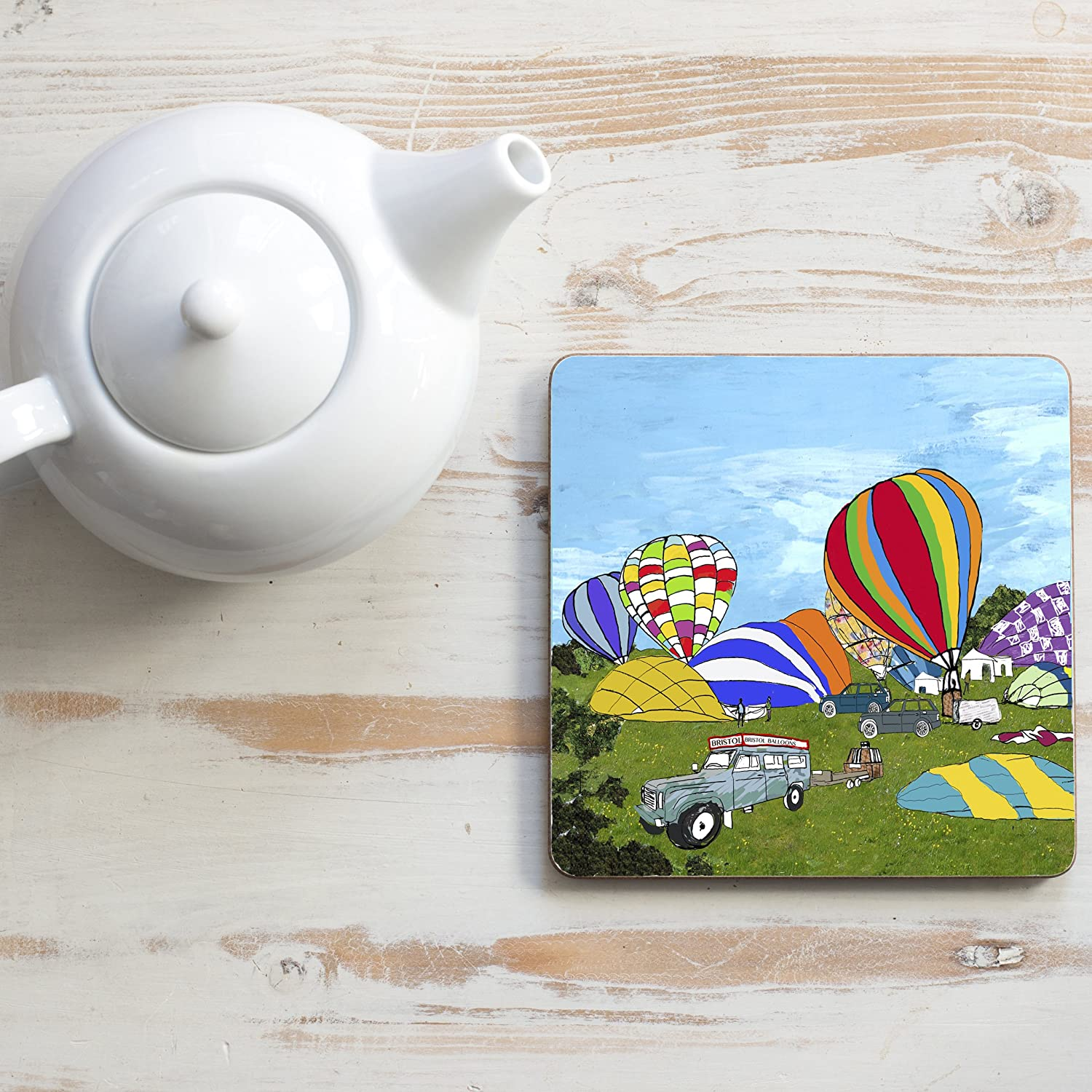 Early Balloon Ascent, Square Teapot Stand Emmeline Simpson