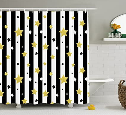 Ambesonne Striped Shower Curtain Black And White Lines Background With Big Small Stars Pattern