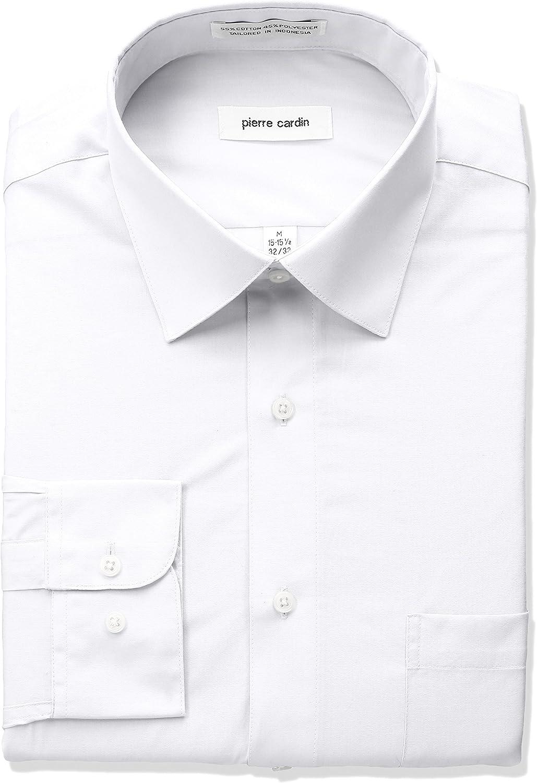 Pierre Cardin Mens Classic Fit Solid Broadcloth Semi Spread Collar Shirt Dress Shirt