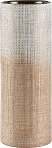 Amazon Brand – Rivet Rustic Stoneware Indoor Outdoor Flower Plant Home Decor Tall Cylinder Vase, 11