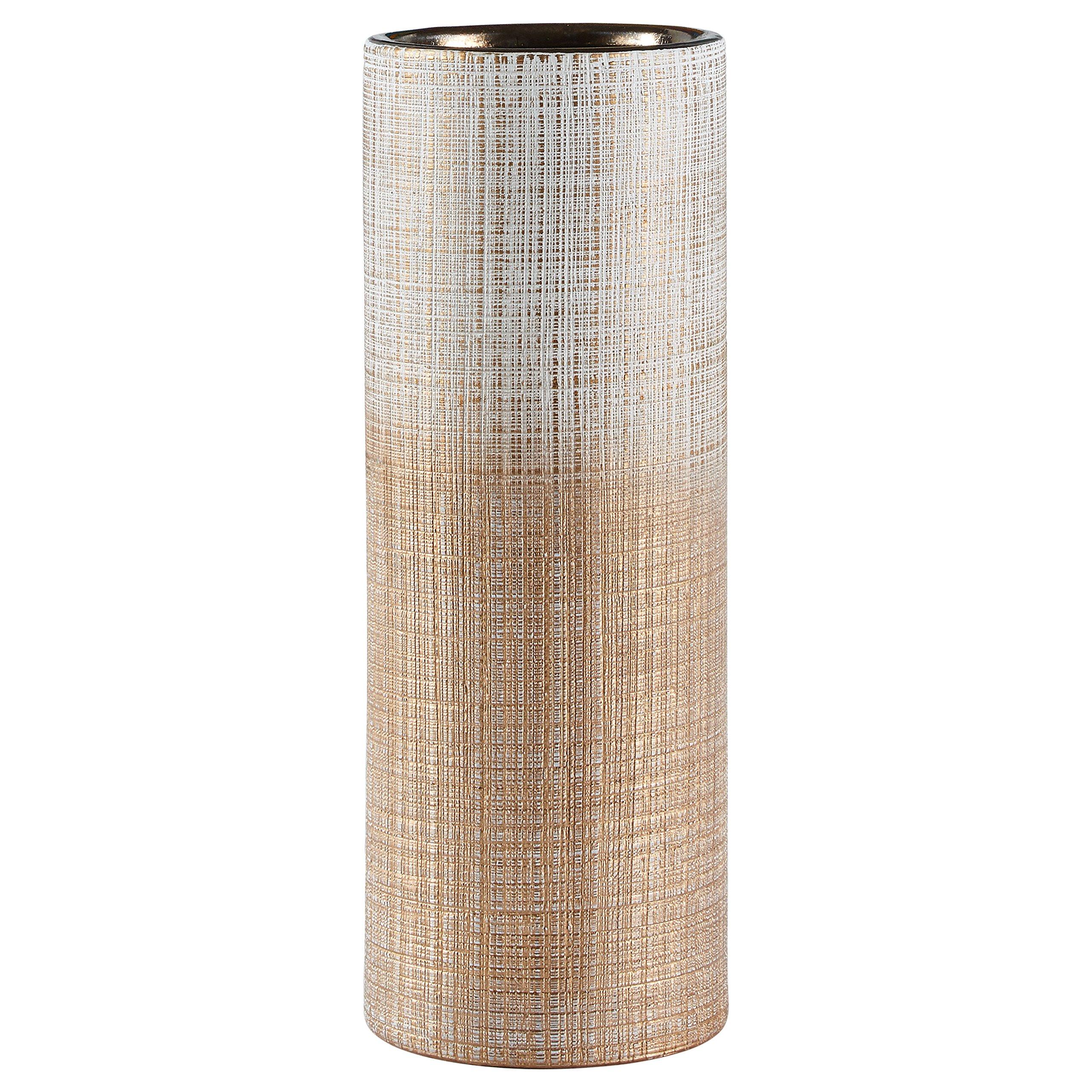CDM product Rivet Rustic Textured Stoneware Tall Decorative Vase, 11 Inch Height, Bronze big image