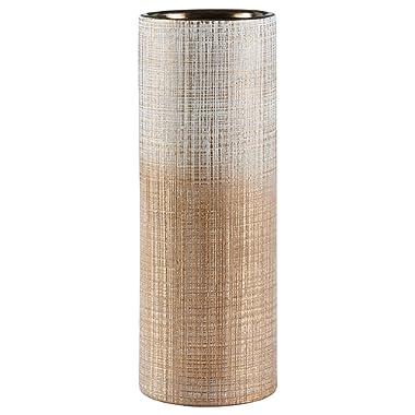 Rivet Rustic Textured Stoneware Vase, 11 H, Bronze