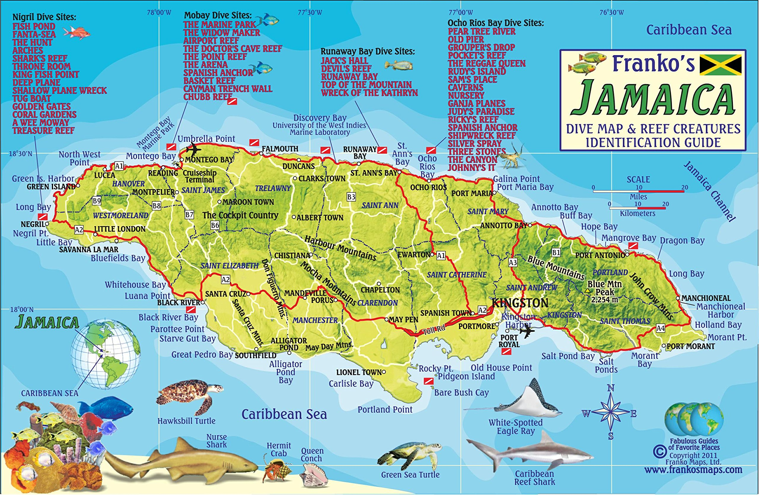 Jamaica Dive Map Coral Reef Creatures Guide Franko Maps - Jamaica map
