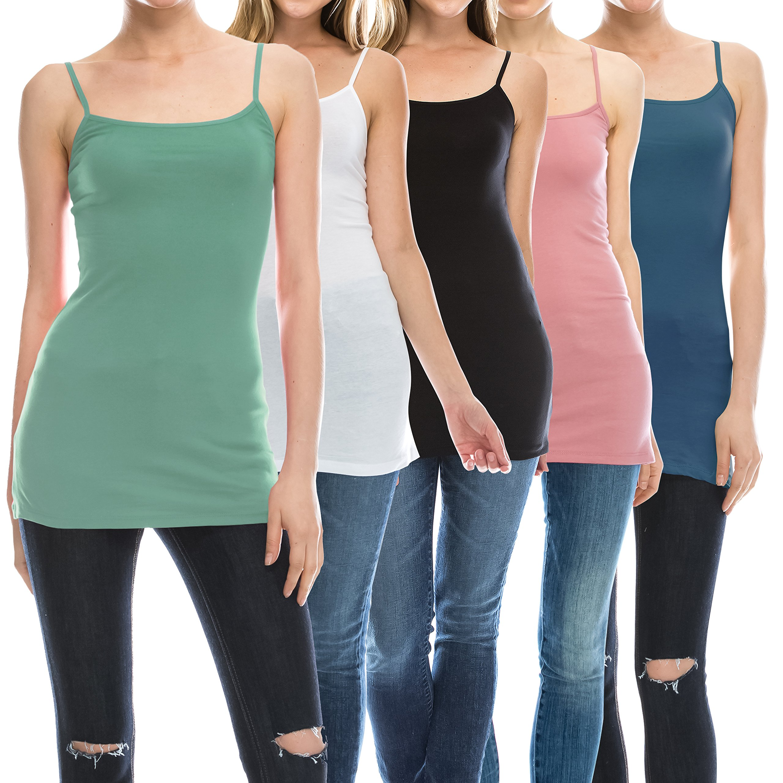 5827d7c2e95 Nolabel Multi Pack Womens Basic Long Length Adjustable Spaghetti Strap Cami Tank  Top Camisole Plus (