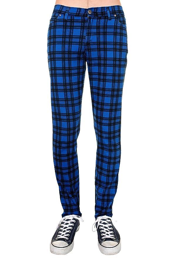 1960s – 1970s Mens Pants, Jeans, Bell Bottoms Mens Indie Vintage Retro 60s Mod Royal Blue Black Tartan Plaid Stretch Skinny Jeans $51.95 AT vintagedancer.com