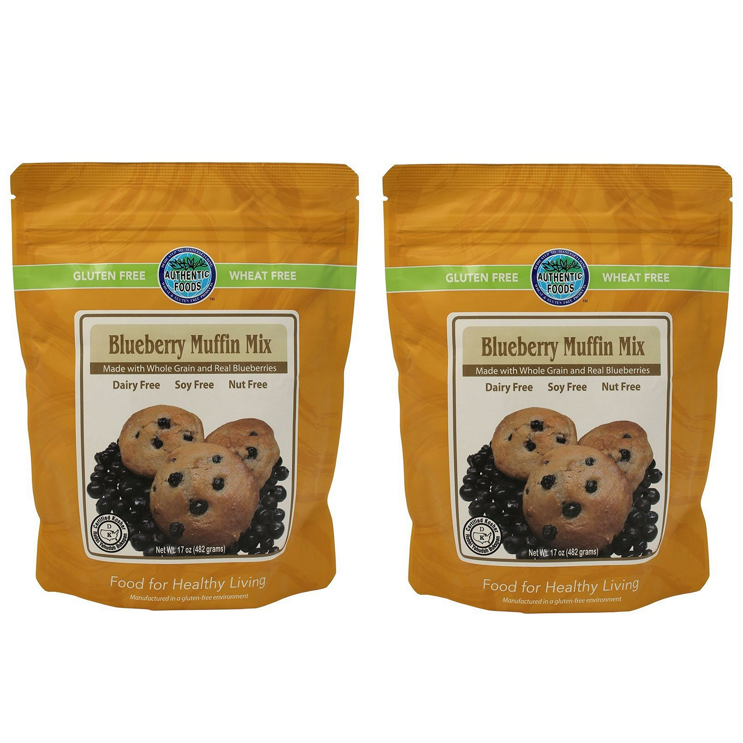 Authentic Foods Gluten Free Blueberry Muffin Mix - 2 Pack by Authentic Foods