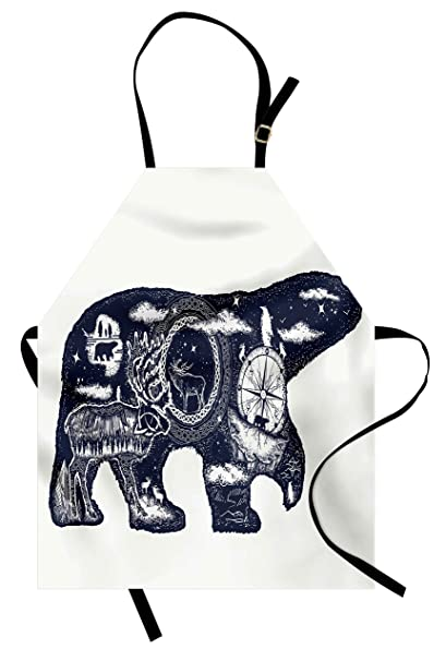 17af122f5 Lunarable Cabin Apron, Cosmic Fantasy Polar Bear Tattoo Art Style Magical  Boho Northern Nature Compass