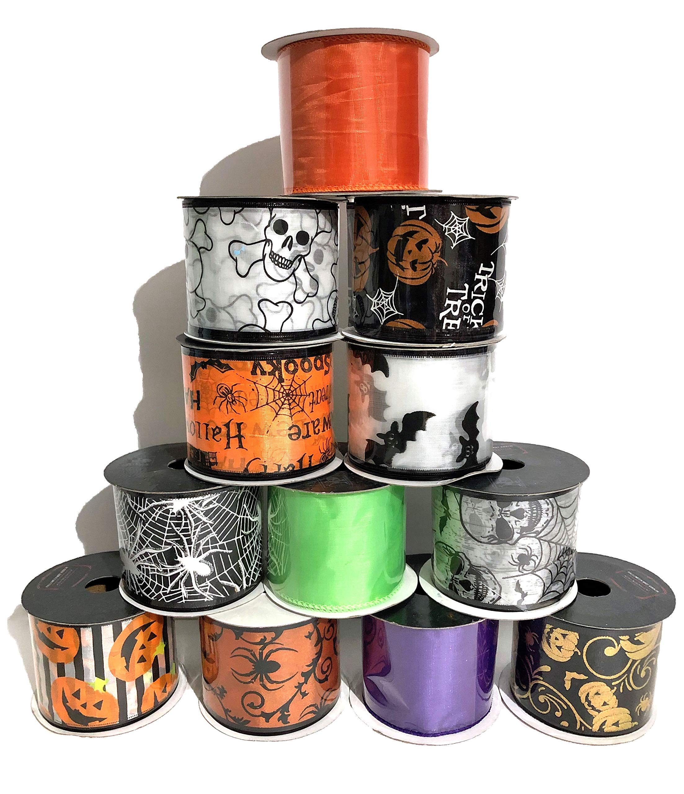 Wired Halloween Ribbon Assortment- Set of 12 by Nikki's Knick Knacks
