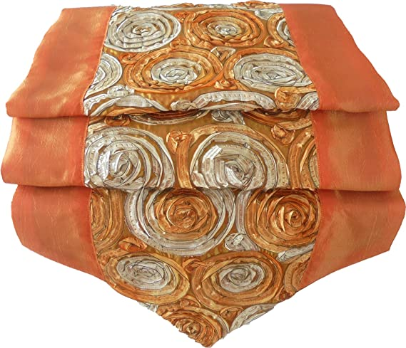 Rosas flores de color naranja mesa de mantel de lino camino de ...