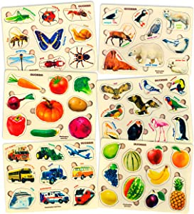 Toddler Puzzles for Kids Ages 2-4 by Quokka - 6 Wooden Puzzles for Toddlers 1-3 Years Old – Children's Wood Toys for Learning Realistic Animals Fruits Veggies Vehicles - Gift for Boys and Girl 3-5