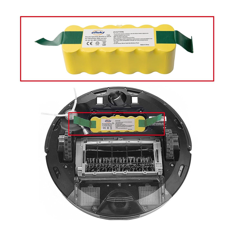 efluky 3.5Ah batería de Repuesto para irobot roomba + Kit cepillos repuestos de Accesorios para iRobot Roomba Serie 600 610 620 625 630 631 632 639 ...