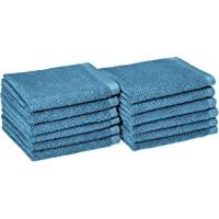 AmazonBasics, Juego de toallas de secado rápido, Azul , 12 piezas