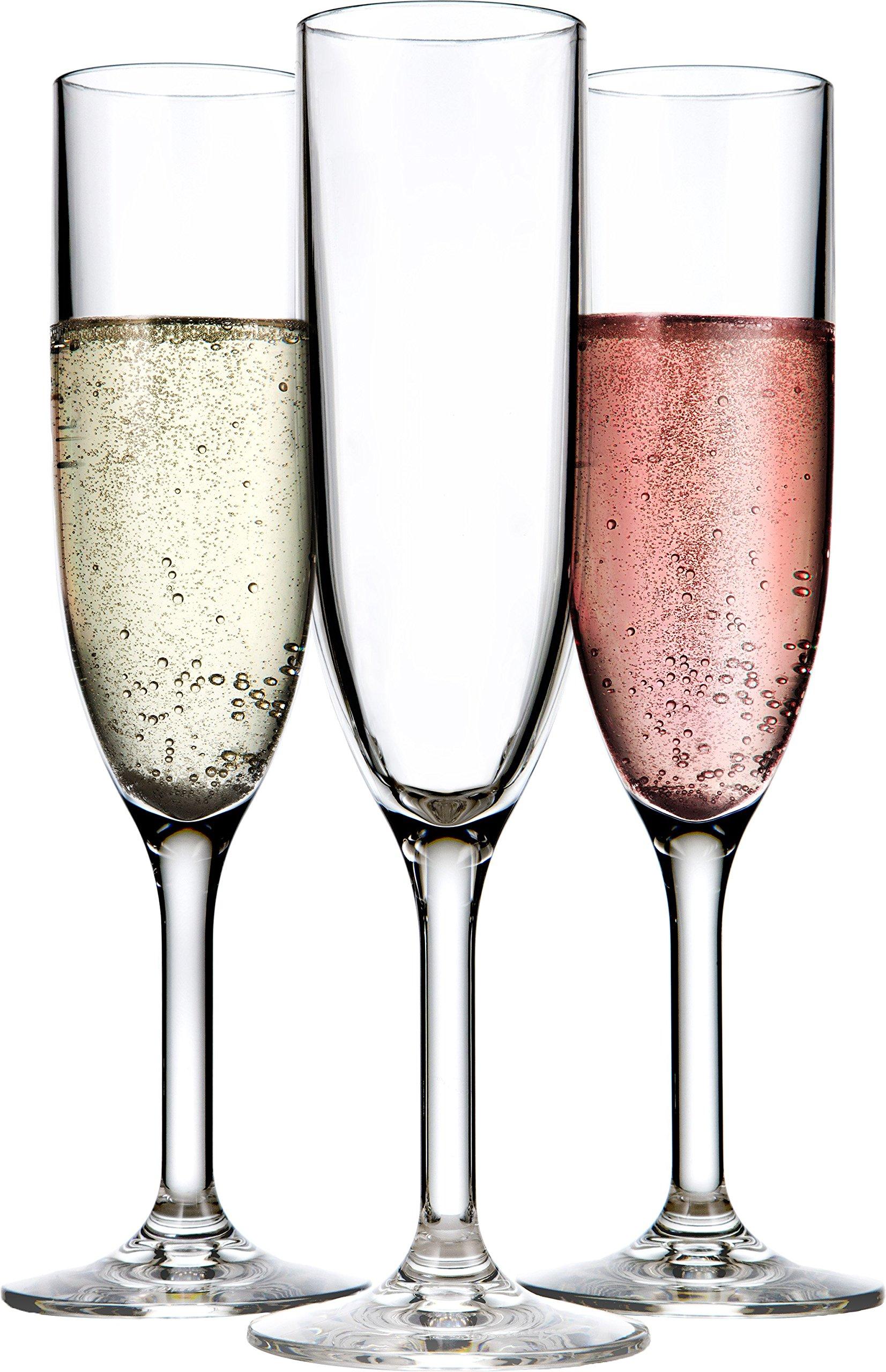 Drinique VIN-CF-CLR-24 Champagne Flutes Unbreakable Tritan Stemware, 6 oz (Case of 24), Clear