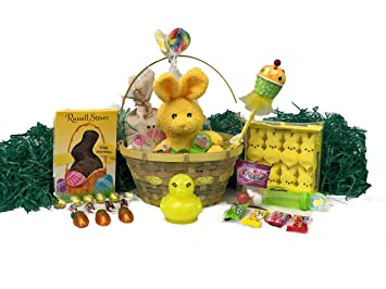 Yellow easter basket for kids and adults easter gift basket yellow easter basket for kids and adults easter gift basket filled with premium solid milk negle Images