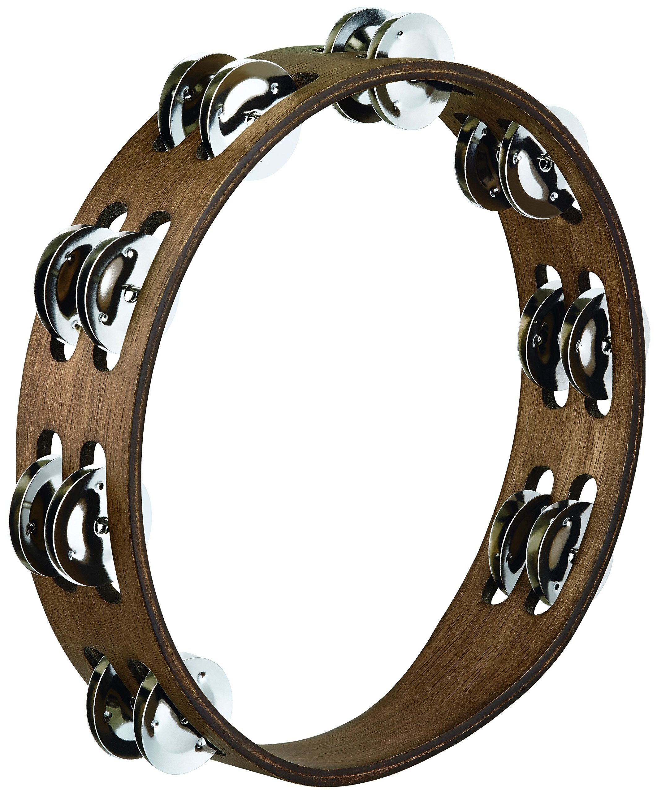 Meinl Percussion TA2WB 10-Inch Wood Tambourine with Double Row Stainless Steel Jingles, Walnut Brown Finish