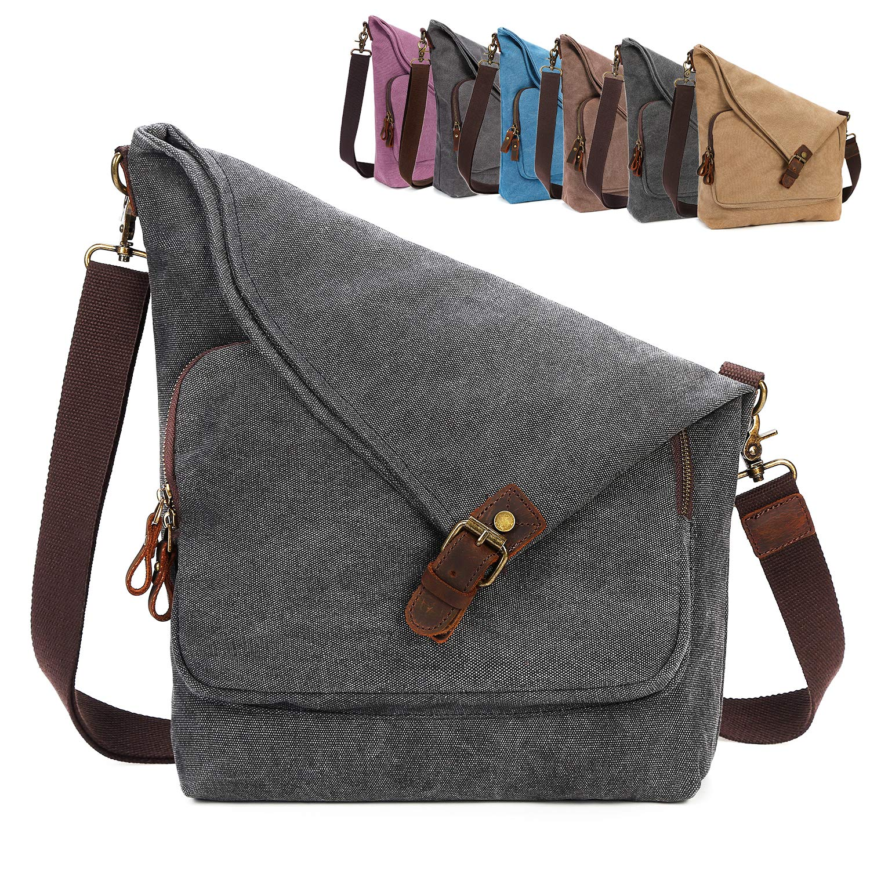 12cc9703396a AmHoo Canvas Crossbody Bag for Women Genuine Leather Messenger Purse  Handbags Shoulder Bag Hobo Totes Unisex