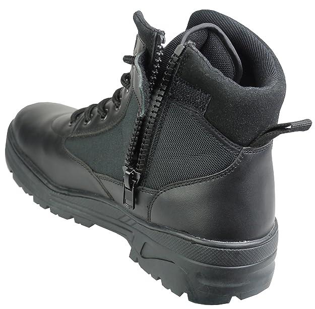 Savage Island Botas Cuero Negro Altura Media con Cremallera Tipo Militar: Amazon.es: Zapatos y complementos