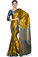 Mimosa Women's Crepe Saree With Blouse Piece (4042-236-Gr-2D-Gld-Rblu_Mustard)