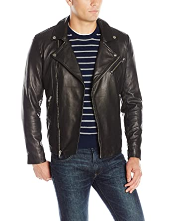 8886602ae234a LAMARQUE Men's Thierry Lambskin Leather Biker Jacket at Amazon Men's  Clothing store: