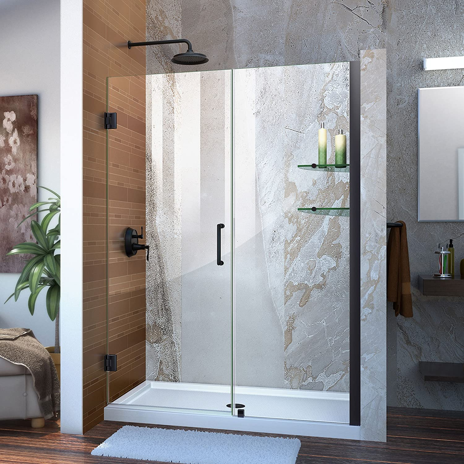 DreamLine Unidoor Min 52 in. to Max 53 in. Frameless Hinged Shower, Clear 3 8 in. Glass Door, Satin Black Finish, SHDR-20527210S-09, 55-56 W x 72 H,