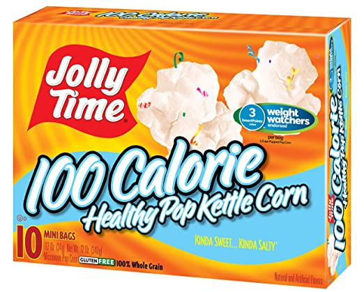 amazon com jolly time healthy pop kettle corn microwave popcorn mini bags 100 calorie single serving for portion control 10 count boxes pack of 3