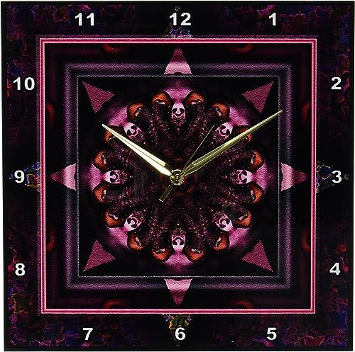 3dRose dpp_24842_2 Mandala 10 Chakra Purple Pink Black Flower Power Hippie India Orient Oriental Meditate Peace Harmony-Wall Clock