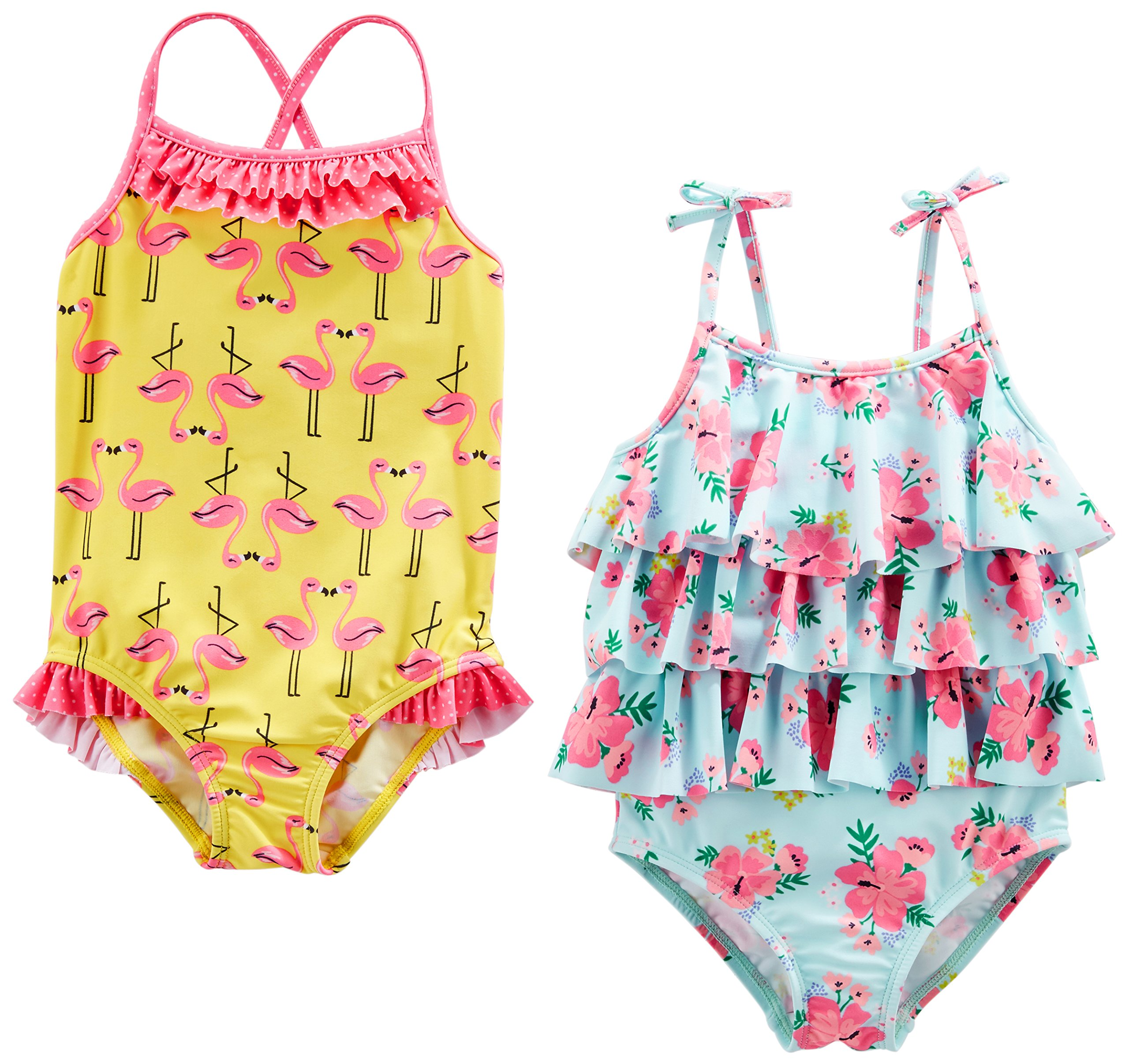 Simple Joys by Carter's Baby Girls' Toddler 2-Pack One-Piece Swimsuits, Yellow Flamingo/Blue Floral, 3T by Simple Joys by Carter's