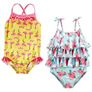 Simple Joys by Carter's Baby Girls' Toddler 2-Pack One-Piece Swimsuits, Yellow Flamingo/Blue Floral, 2T
