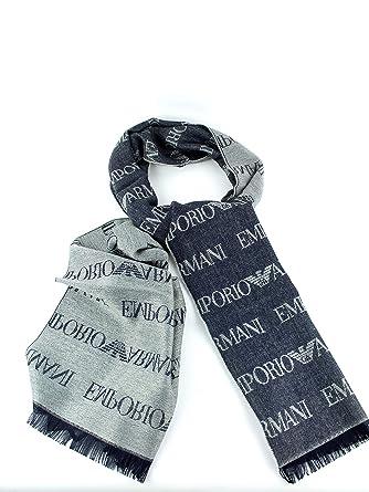 Emporio Armani Armani Hommes Echarpe logo Bleu Une Taille  Amazon.fr   Vêtements et accessoires bb5e25c2e87