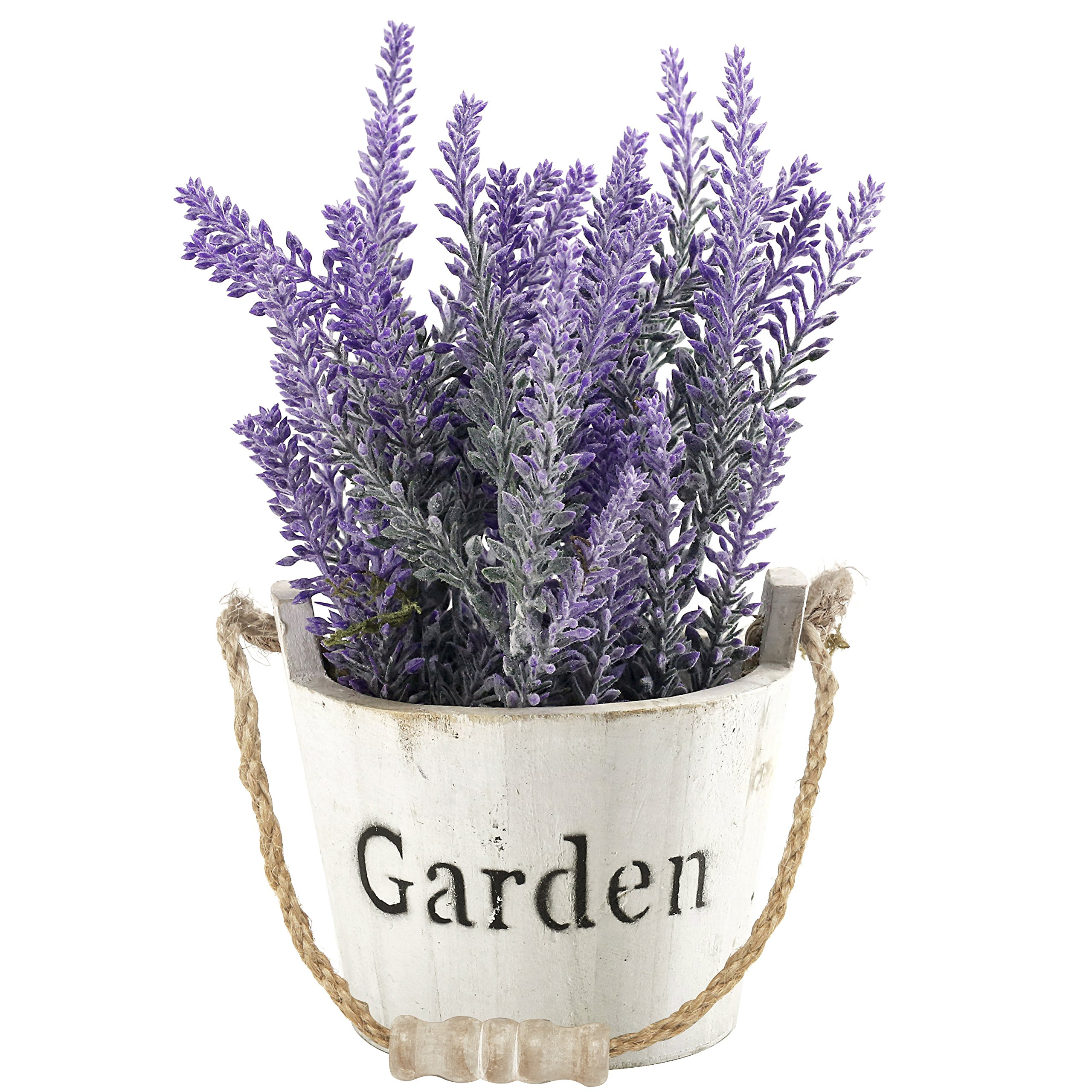 Artificial Lavender in Vintage Style Whitewashed Wood Stave GARDEN Bucket with Rope Handle