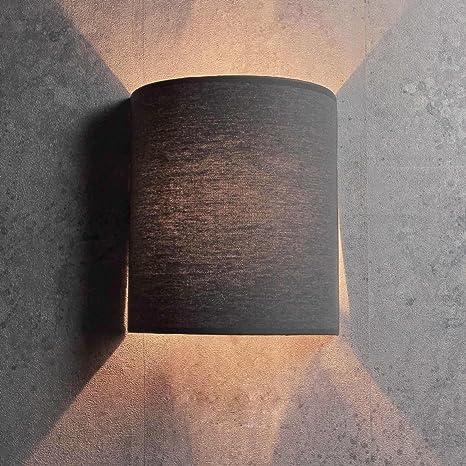 Moderna lampada da parete Loft in grigio E27 Tessuto muro ombra ...