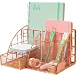 Rosework Large Rose Gold Desk Organizer - All In One Desktop Organizer With 35% More Space For Desk Accessories…
