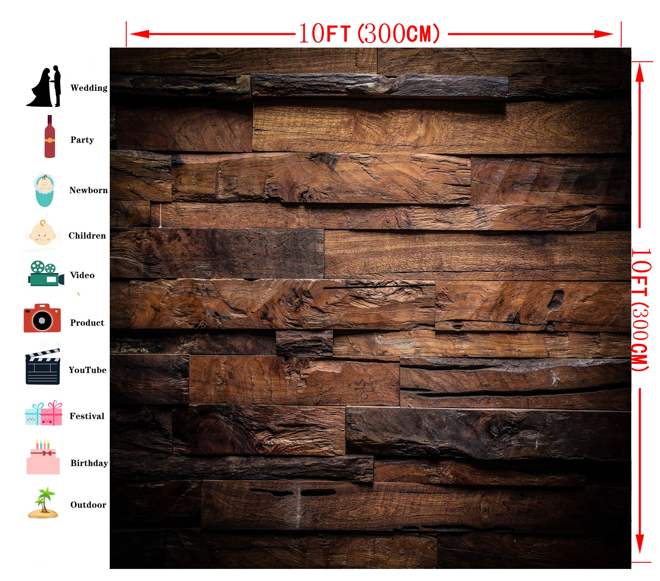 CYLYH 10x10ft Photography Backdrop Brown Wood 3D Backdrops for Picture Customized Vinyl Photo Background D104 by CYLYH (Image #3)