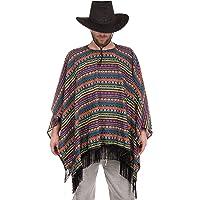 Brandsseller Poncho mexicano con flecos, capa única para adultos, estructura tejida, multicolor