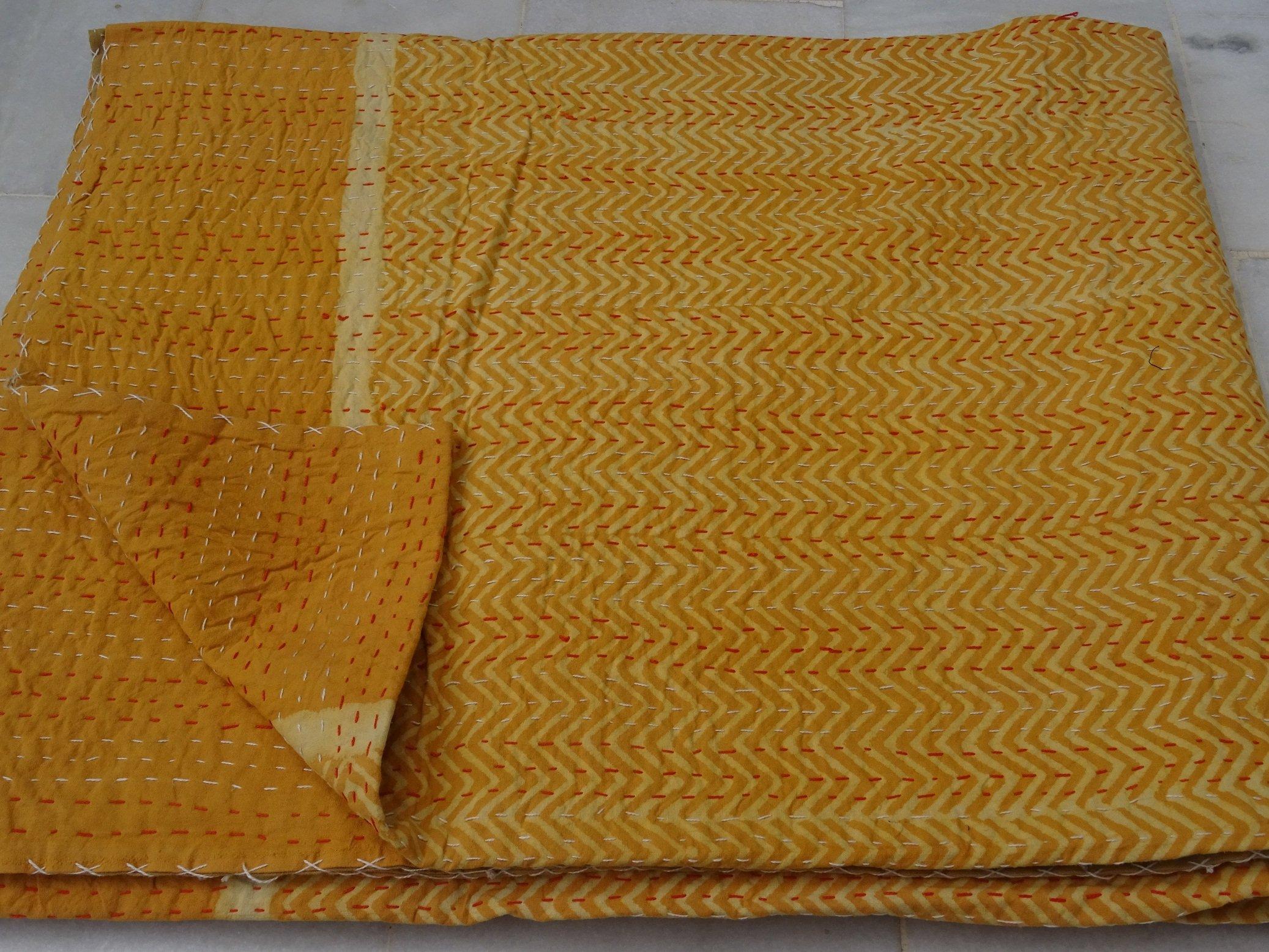 Tribal Asian Textiles Kantha Quilt Block Print Quilt Kantha Throw Blanket Queen Quilt Kantha Bedspread