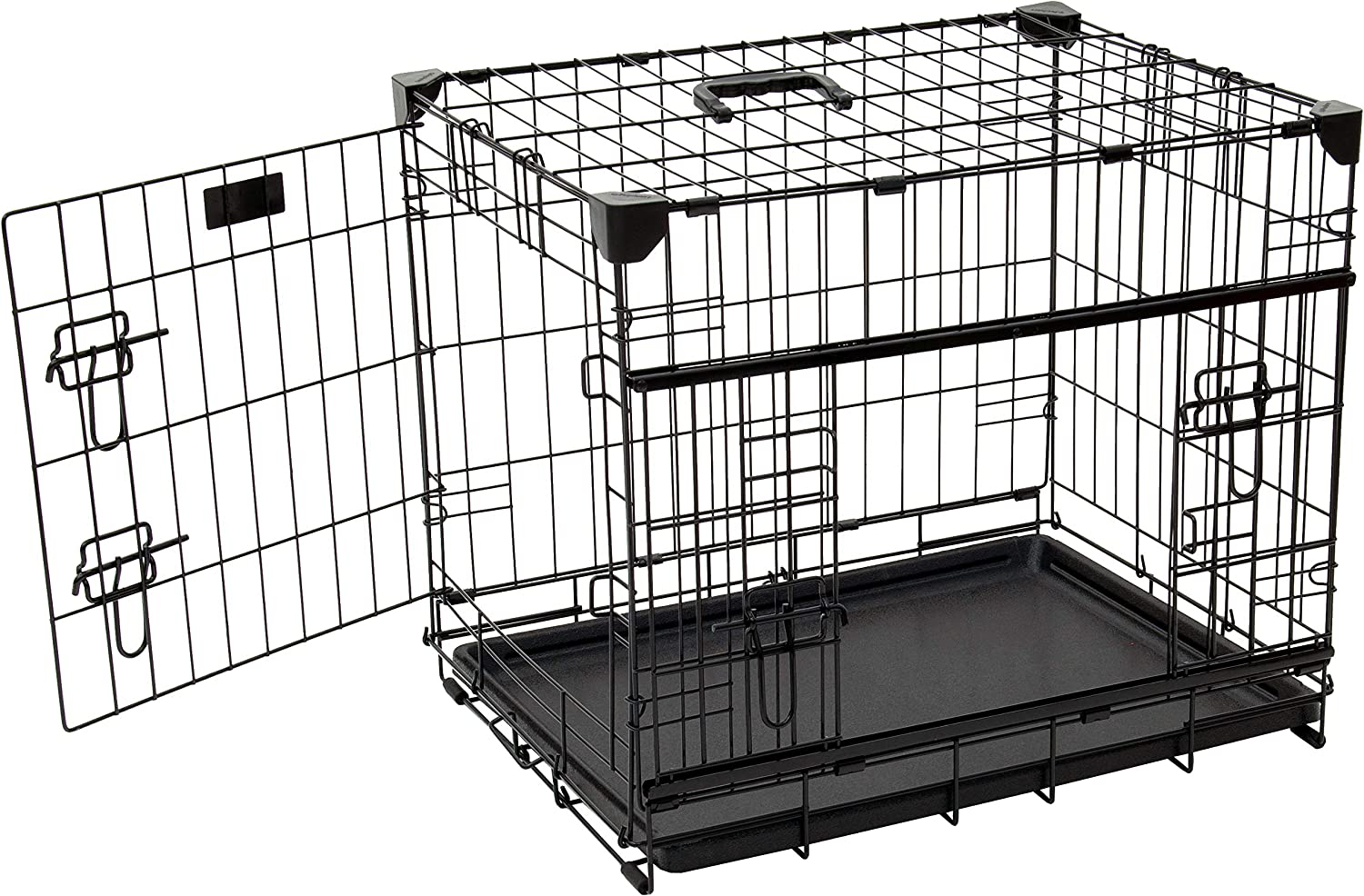 """Lucky Dog 22"""" (XS) Slyder Whisper Glide Sliding Door Dog Crate   2nd Side Door Access   Patented Corner Stabilizers   Removable Tray   Rubber Feet   Carrying Handle"""