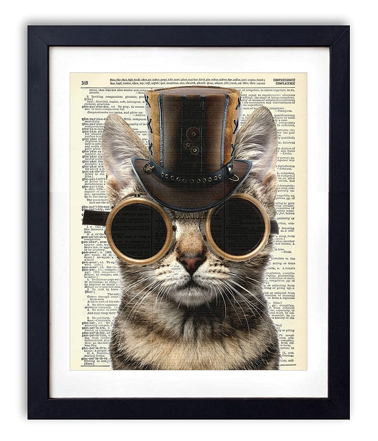 Steampunk Cat Upcycled Wall Art Vintage Dictionary Art Print 8x10 inches / 20.32 x 25.4 cm Unframed
