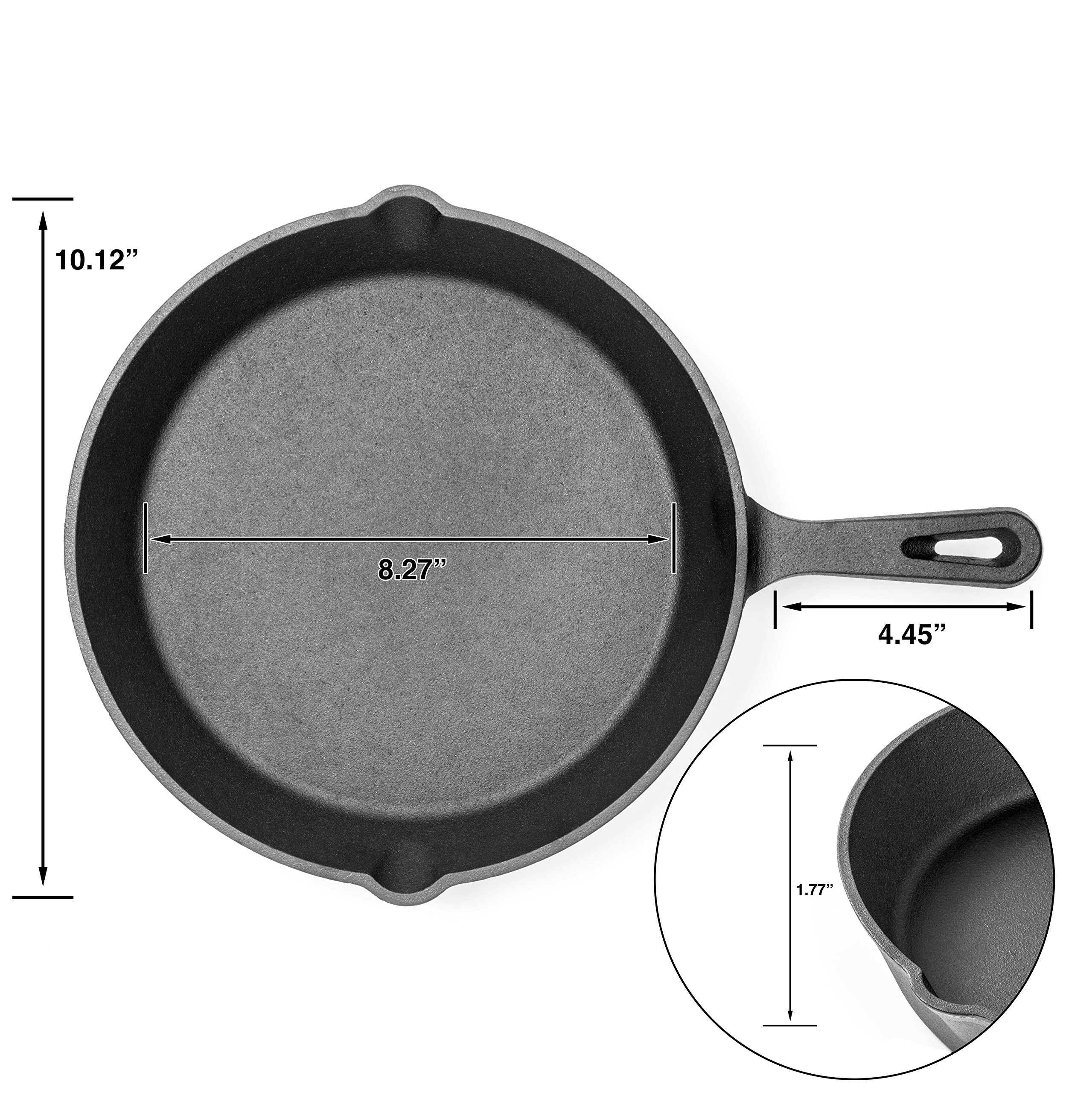 Pre-Seasoned Cast Iron Skillet 3 Piece Set (10, 8 inch & 6 inch Pans) Best Heavy Duty Professional Restaurant Chef Quality Pre Seasoned Pan Cookware For Frying, Saute, Cooking by Amsha Kitchen (Image #2)