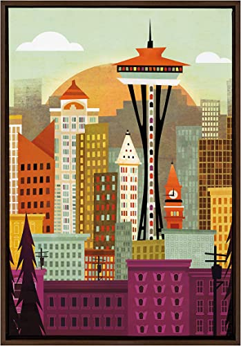 Kate and Laurel Sylvie Seattle Skyline Framed Canvas Wall Art