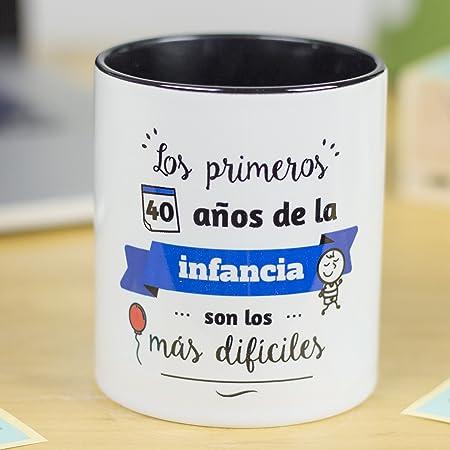 La Mente es Maravillosa - Taza con Frase y dibujo. Regalo original y gracioso (Los primeros 40 años de la infancia, son los más dificiles) Taza Diseño ...
