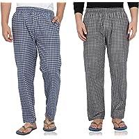 Fflirtygo Mens Pyjama Cotton Combo, 100% Cotton Export Quality Fabric, (Pack of 2) Sleep Pants, Pyjama for Men, Night Wear Pajama – Blue and Brown Combo Pack