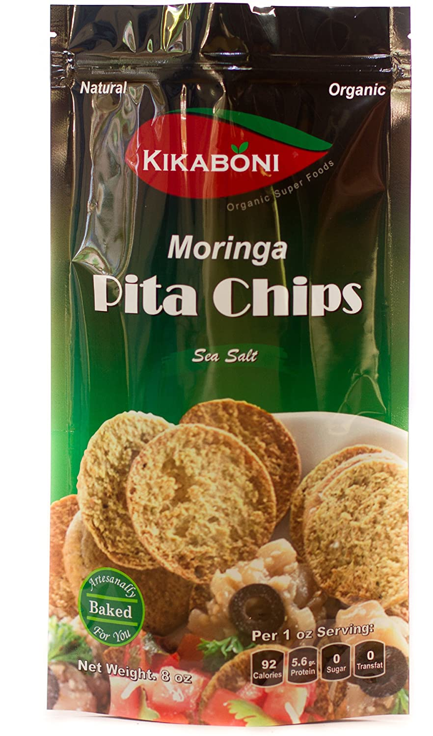 Amazon.com: Moringa Pita Chips 8oz (Pack of 6) Oz By Kikaboni- Delicious, Natural, Healthy, Low Fat with High Protein Vegetarian with 100% Pure Moringa ...