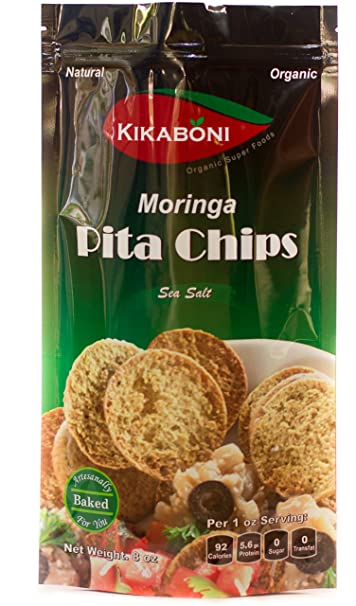 Moringa Pita Chips 8oz (Pack of 6) Oz By Kikaboni- Delicious, Natural, Healthy, Low Fat with High...