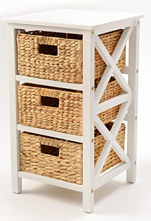 eHemco 3 Tier X-Side End Table Cabinet Storage with 3 Baskets White