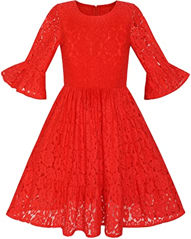 Vestido para niña Rojo Campana Manga Encaje Volante Fruncido Falda ...