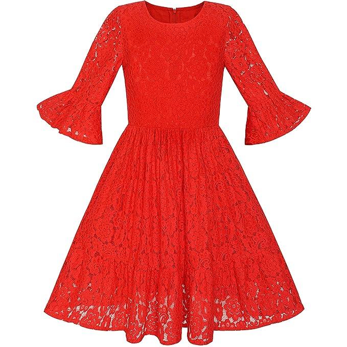 Sunny Fashion Vestido para niña Rojo Campana Manga Encaje Volante Fruncido Falda Fiesta 5-12 años: Amazon.es: Ropa y accesorios
